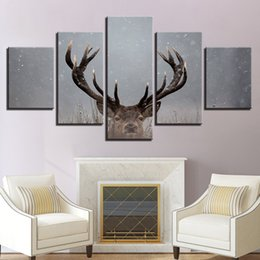Art Canvas Prints Australia - Modern Painting Wall Home Decor Frame Living Room 5 Pieces Animal Deer Antlers Winter Landscape HD Printed Canvas Art Pictures