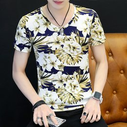 Wholesale Summer Men s Short sleeved T shirt Trim Half sleeved T shirt Handsome Clothes
