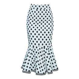 Women Polka Dot Maxi Skirt White High Waist Sheath Stretch Vintage Party Midi Skirts Office Lady Hips Wrap Bodycon Mermaid Skirt