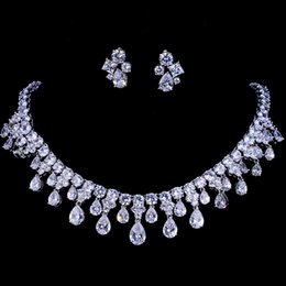 Emmaya Zircons High Quality White Gold Color Cubic Zirconia Bridal Wedding Necklace And Earring Sets Party Gift on Sale