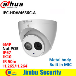H Case Australia - Dahua IP Camera 6MP H.265 IPC-HDW4636C-A Metal casing Built-in MIC IR50m IP67 IK10 multiple languag Not POE Dome CCTV camera
