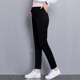 maternity long trousers Australia - Spring And Autumn Pregnant Woman Long Pants Black Elegant Maternity Full Length Empire Trousers Formal Pregnancy Cotton Trousers