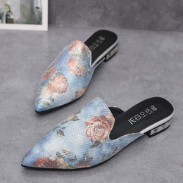 $enCountryForm.capitalKeyWord Australia - Luxury Embroidered Flats Mules Lady Slippers Blue Satin Slip On Pointed Toe Women Mules Outdoor Slipper Shoes Woman Slides