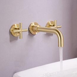 $enCountryForm.capitalKeyWord Australia - Free ship Modern Wall Mount Widespread Double Cross 2 Handles Bathroom Sink Faucet brushed gold