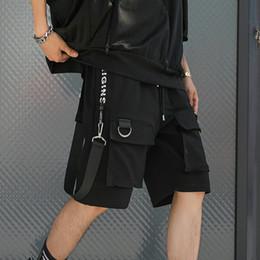 $enCountryForm.capitalKeyWord Australia - Hip Hop Summer Shorts Men 2019 Black Ribbons Streetwear Bermuda Man Shorts Multi-pocket Punk Casual Knee Length Short Pants Men Y19071601