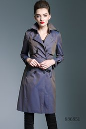 Double Shirt Designs Australia - New women long trench coat jacket color blue Double Breasted Coat Jackets Trench Coats Wear Dresses Blouses Shirts T-shirts