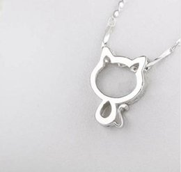 925 cat pendant online shopping - Hollow Out Silver Cat Pendant With Water Wave Chain Necklace Best Gift Present For Prom Party Women Ladies Gilrls ayq