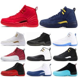 red white basketball shoes for men Australia - 12s Mens Basketball Shoes Winterized Wntr Gym Red Michigan Bordeaux 12 White Black The Master Flu Game Taxi Sports Sneakers Trainers For Men