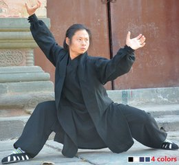 54d442b66 Wudang Taoist tai chi clothing shaolin buddhism kung fu exercises training monk  suit Martial arts clothes robes costume 4colors