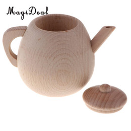 kids wooden toy kitchen UK - Wooden Kitchen Toys - Fun Kids Girls Pretend Play Game Cooking Baking Cookware  Tableware Educational Game - Large Tea Pot