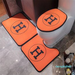 h case NZ - Classic Style Toilet Foot Cover Toilet Seat Cover No-slip H Letter Print High Quality Bathroom Set