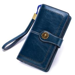 $enCountryForm.capitalKeyWord UK - New 2019 Genuine Leather Women Real Oil Wax Leather Long Clutch Wallet Retro Metal Lady Purse Female Cellphone Bag Y19052302