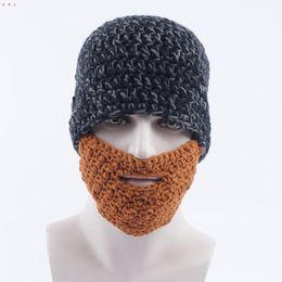 funny ski hats 2019 - Handmade Knitting Funny beard Hat knitted Beanie ski Face Mask cap bearded Headgear Christmas Party Unisex Gift black bl