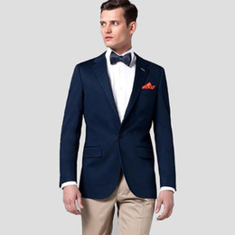 c2406f9965aa8a New Custom Made Dark Blue Men Suits Wedding Retro Vintage Groom Tuxedo Best  Men Slim Fit Mens Blazer Jacket Handsome Khaki Pants 2 Pieces 57