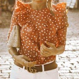 Wholesale Women Fashionable Tops Australia - 2019 Fashionable Women's Polka Dot V-Back Tops Ladies Popular Summer Long Sleeve Ruffled T-Shirt HOT SALE