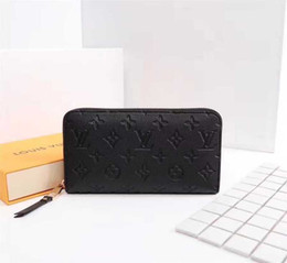 Discount snakeskin wallets - Full leather embossed zipper M60017 2019 WOMEN LEATHER LONG WALLET CHAIN WALLETS COMPACT PURSE CLUTCHES EVENING KEY CARD