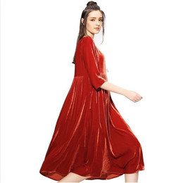 $enCountryForm.capitalKeyWord NZ - New 2018 Plus Size Loose O-neck Vintage Dress Female Gold Velvet Ladies Casual Dress for Autumn Winter Women Vestidos White Red
