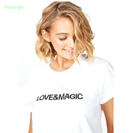 Shirt Slogans Australia - Porzingis cotton female t-shirt girls superhero shirts slogan love&magic 2019 summer new white tee casual basic shirt tops