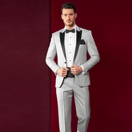 light grey suit black tie Australia - Fashion Light Grey Mens Wedding Tuxedos Black Peak Lapel Groomsmen Tuxedos Popular Man Blazers Jacket Excellent Suit(Jacket+Pants+Tie) 1527