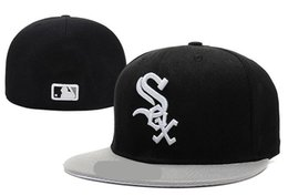 White sox hats online shopping - New Hot On Field White Sox fitted hat Top Quality flat Brim embroiered Letter SOX Team logo fans baseball Hats full closed