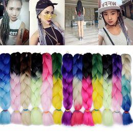 two tone braid hair 2019 - Kanekalon Ombre Braiding hair synthetic Crochet braids twist 24inch 100g Ombre two tone Jumbo braid hair extensions more