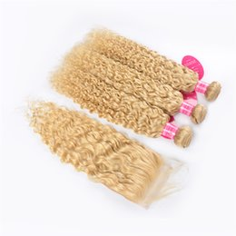 Remy weft 613 online shopping - 613 Blonde Bundles with Closure Peruvian Water Wave Unprocessed Remy Human Hair Bundles With Lace Closure No Shedding