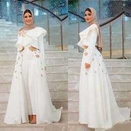Women Fashion Jumpsuit Australia - 2019 Long Sleeves Modest Arabic Evening Dresses Formal Wear Fashion Women Jumpsuits Prom Dress With Overskirts Cheap Women's Pant Suits