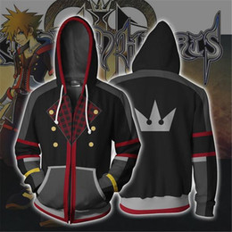 japanese clothes sweatshirt Canada - Game Kingdom Hearts Sora Cosplay Costumes Zipper Hoodies Sweatshirts 3D Printing Unisex Adult Clothing