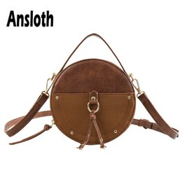 vintage leather handbags UK - Ansloth Vintage Scrub Leather Shoulder Bags For Women Round Crossbody Bags Lady Small Handbags And Wallets HPS555