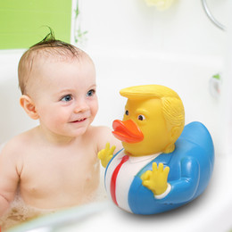 Duck accessories online shopping - Baby Trump Duck Bath Toy Shower Water Floating Rubber Duck Baby Funny creative Toy home use child Bath accessories QQA324