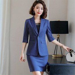 $enCountryForm.capitalKeyWord Australia - Plus Size 4Xl Ladies Skirt Suit Formal Wear Slim Stripe Office Uniform For Women Tailleur Jupe Femme 2 Piece Skirt Set Ds50588