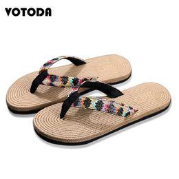 home wear slippers 2019 - New 2019 Fashion Slippers Sandals Women Summer Beach Flip Flop Outside Slip On Wear Resistant Straw Flax Linen Home Slip