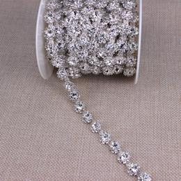 $enCountryForm.capitalKeyWord Australia - 5yard roll Silver trim handmade wedding applique rhinestone chain crystal patches DIY sewing bride dress belt sash