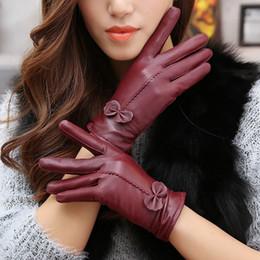 Warm Leather Gloves Ladies Australia - Real Genuine Leather Gloves Women Luxury Warm Sheep Skin Winter Girls Real Leather Yellow Glove Driving Warm Ladies Glove