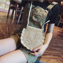wholesale straw ladies handbags UK - 1pc Casual Rattan Women Shoulder Bags Circle Straw Handbags Big Capacity Handmae Summer Totes Lady Round Bohemian Beach Treval