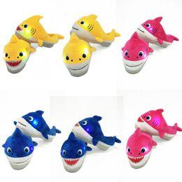 BaBy size slippers online shopping - 22cm Children LED Light Baby Shark Plush Shoes Slipper Music Cartoon Warm Slippers Slip On Household Hoom Shoes Kids Casual Sandal M284