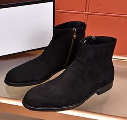 $enCountryForm.capitalKeyWord Australia - Brand men Cow leather Boots fashion High top suit Dress Wedding Shoe Fashion Zipper Ankle Martin Boots Suede Winter Snow Boots,39-44