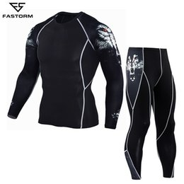 Compression Suits Australia - Fastorm Men Tracksuit Compression Running Set Gym Demix Jogging Suits Sportswear Tight Fitness T-shirt Leggings Workout Clothes Q190521