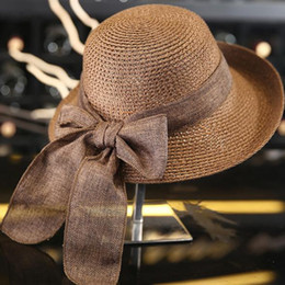 6703a1c7 2019 new hot Korean version of the summer beach visor ladies summer casual  bow straw hat sun hat sunscreen travel wild curling