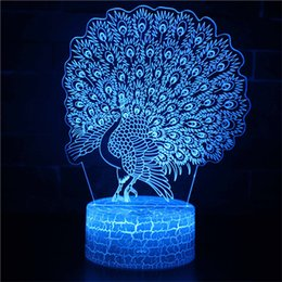 Peacock Lights Australia - 3D Illusion Peacock Night Light,USB 7 Colors Change Touch Table Desk Bedroom LED Lamp for Girls Lover's Gift Home Decoration