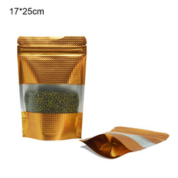 $enCountryForm.capitalKeyWord UK - 50pcs lot 17*25cm Stand Up Gold Embossed Aluminum Foil Window Bags Food Candy Snacks Packaging Pouch Reclosable Zipper Top Mylar Packing Bag