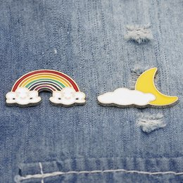 rainbow brooches Australia - 2019 New Fashion Simple Style Korean Europe And The United States Creative New Cute Rainbow Sun Clouds Black Brooch Party Gifts