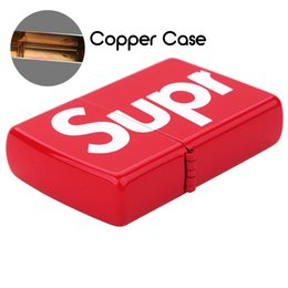 Lighter casing online shopping - Sup Kerosene Lighter Letter High Quality Color Map With Classic Carton Copper Case Tide Brand Gift Not Include Oil