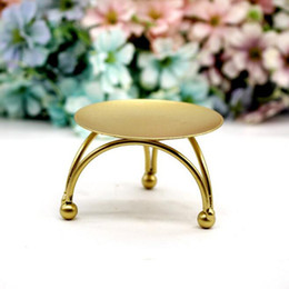 Discount wedding candle cup - Iron Candle Holder Round Table Golden Candlestick for Party Wedding Ornament European Style Candle Stand ZC0683