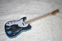 $enCountryForm.capitalKeyWord Australia - Factory Custom Left Handed Metal Blue TL Electric Guitar with Tremolo System,Maple Neck,White Pearl Pickguard,Can be Customized