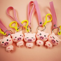 6286cdb437 Lovely pink piglet drop glue doll doll PVC solid soft glue key chain car  bag pendant keychain keyring bag car hanging pendant