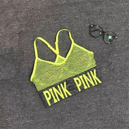 running yoga bra Australia - Sexy Women Yoga Vest Shakeproof Running Sport Bras Padded Letter PINK Yoga Bra Tops Seamless Fitness Underwear Lady Crop Tops
