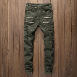 Green jeans punk online shopping - Men Multi Zippers Denim Jeans Straight Slim Male Jeans Pants Fashion Full Length Casual Punk Style Men Ripped Army Green