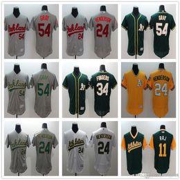 0aad8d66a40 Men s Majestic Oakland Athletics  24 Rickey Henderson 25 McGwire 27 Catfish  Hunter Green Yellow Authentic Athletic Baseball Jerseys