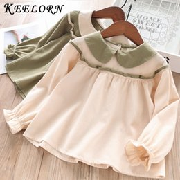 Discount blouse baby collar - Keelorn Casual Girls Autumn Spring Solid Cotton Shirt Children Clothes New Baby Long Sleeve Turn-down Collar Tops Blouse